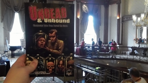 The magnificent Paul Mudie cover for Undead and Unbound.  At Necronomicon.