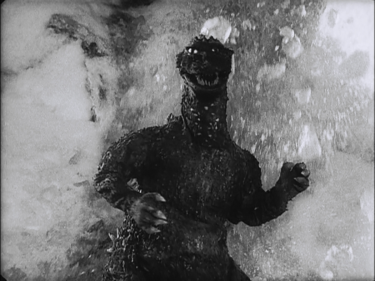 Possibly the best shot of Godzilla in the film.  So many of his appearances are dark.