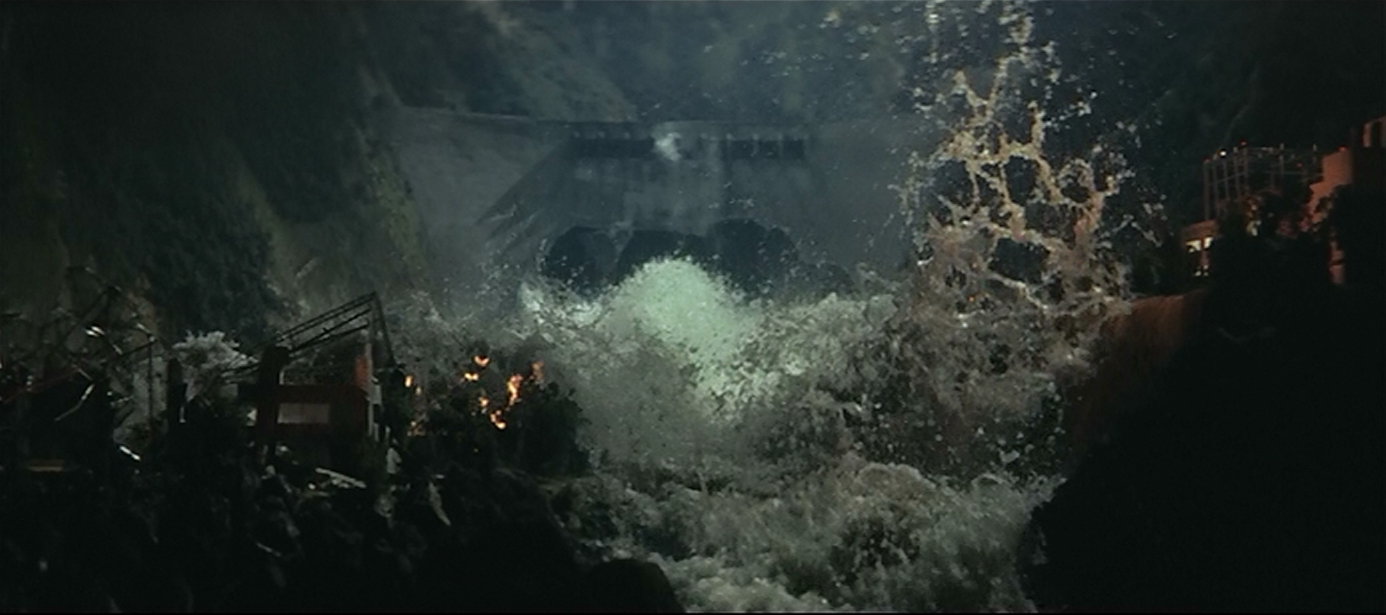 Some impressive miniatures effects as the Kurobe Dam floods ther valley below.?