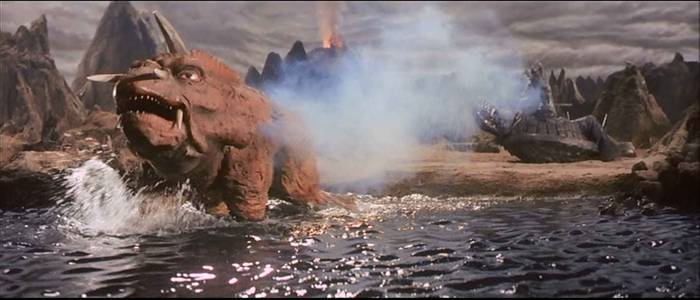 The end of the first fight--Gamera down, Jiger takes off.