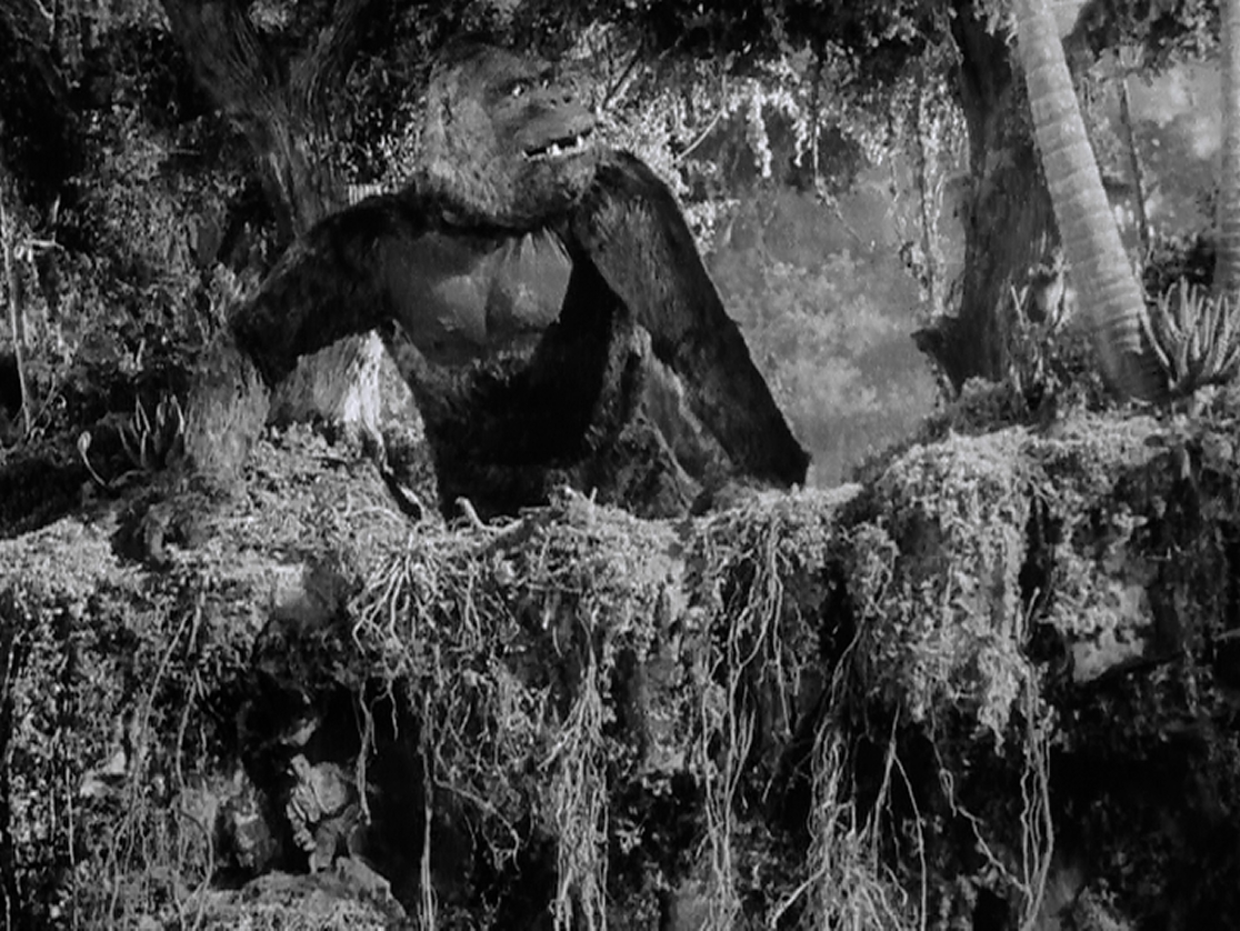 Kong it torn between grabbing Jack Driscoll and saving Ann Darrow.
