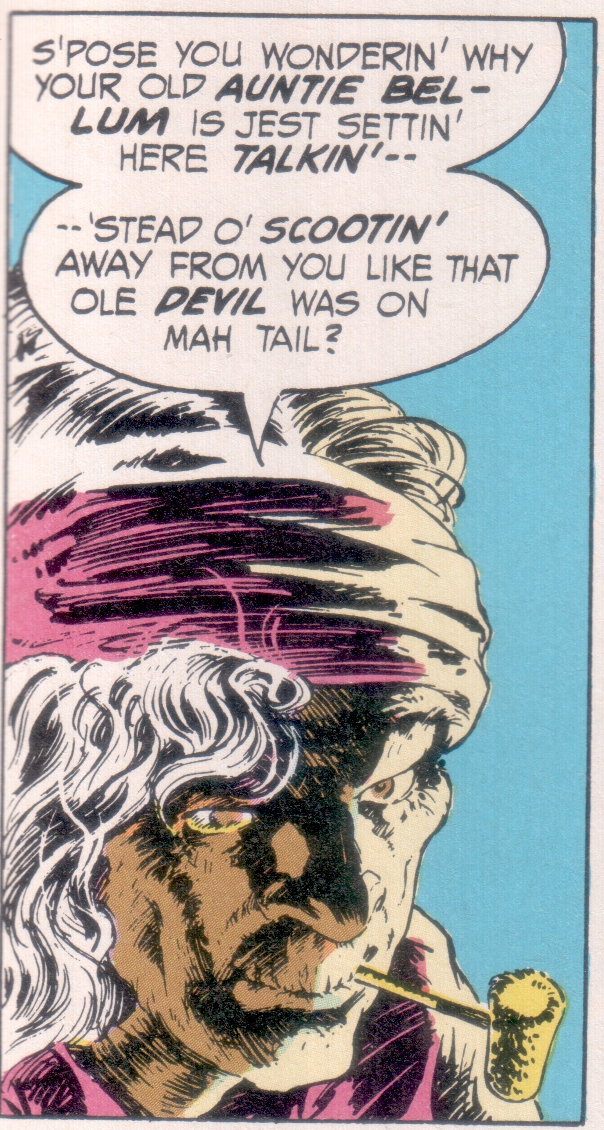 Auntie Bellum, from the reprinted Swamp Thing #10, by Len Wein and Bernie Wrightson