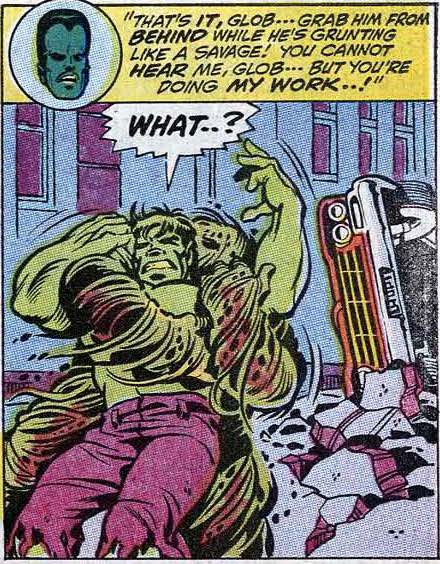 The Leader forces the Glob to attack the Hulk