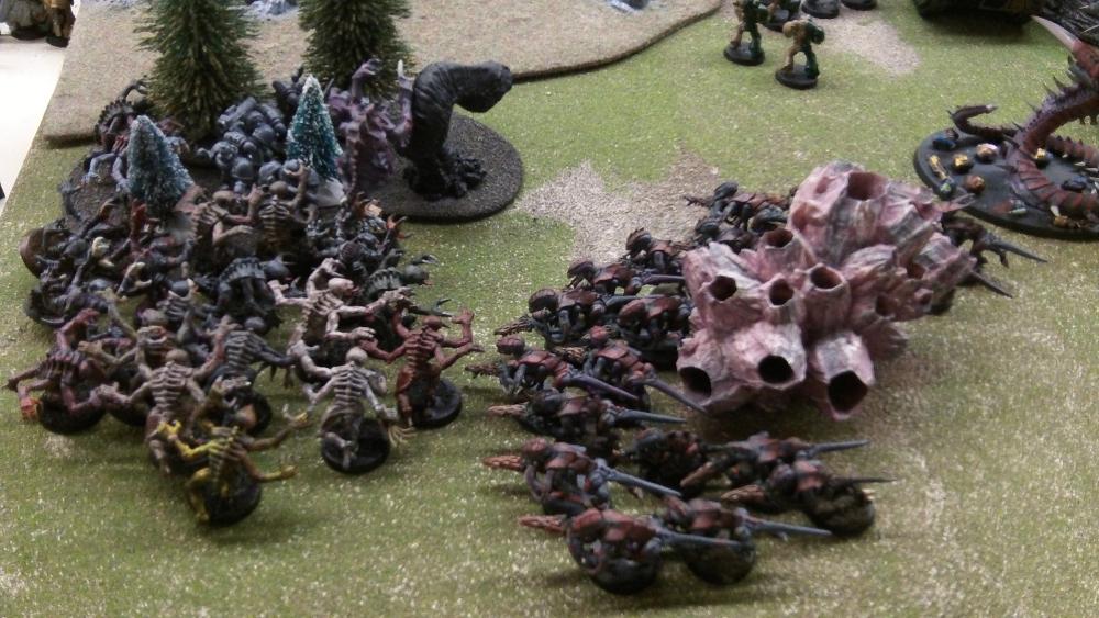 Splinter Fleet Mordiggian purs Termagants out of a mycetic spore